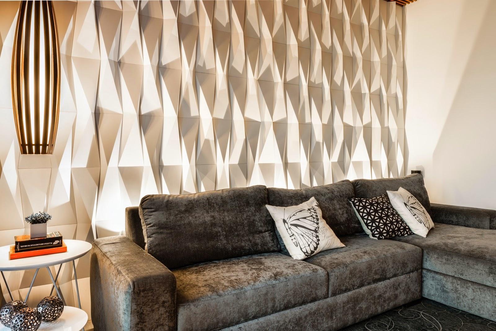 Gesso 3d nova tend ncia na decora o salles im veis - Placas para paredes interiores ...