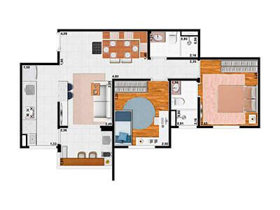 2 Dorms. 58m²