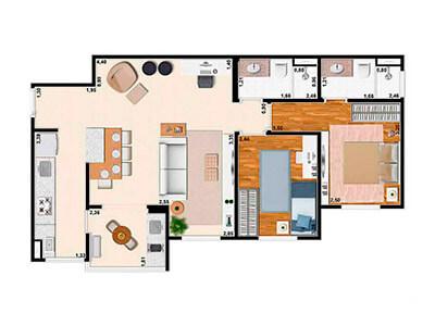 2 Dorms. Sala Ampliada 69m²