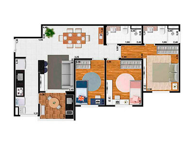 3 Dorms. 69m²