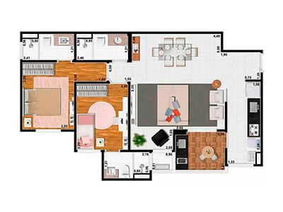 2 Dorms.(2 Suítes) Sala Ampliada 74m²