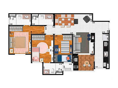 3 Dorms.(2 Suítes) 74m²